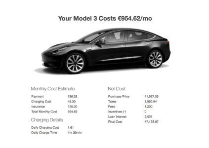 Створено онлайн-калькулятор для розрахунку щомісячної вартості володіння електромобілем Tesla Model 3