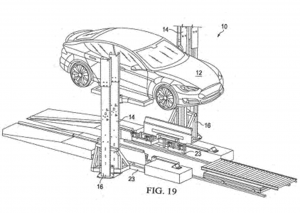 24363 Tesla запатентувала установку, яка за 15 хвилин змінює розряджений блок батарей електромобіля на заряджений