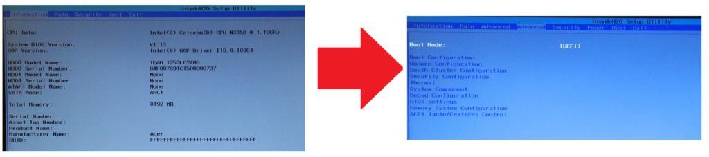 46245 Як отримати розширений BIOS в ноутбуках з InsydeH2O: демонстрація на Acer ES1-332
